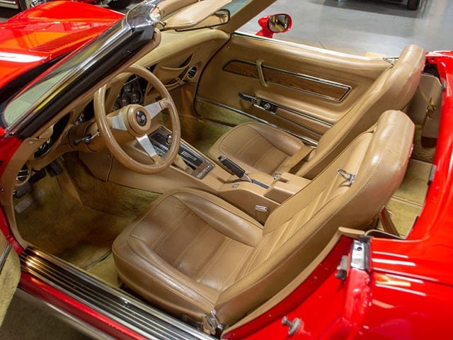 1974 L48 V8 4 Speed Manual Convertible Corvette Red interior