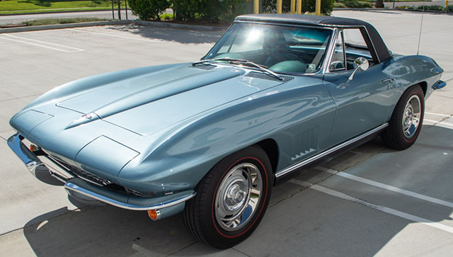 1967 blue l79 corvette convertible coming