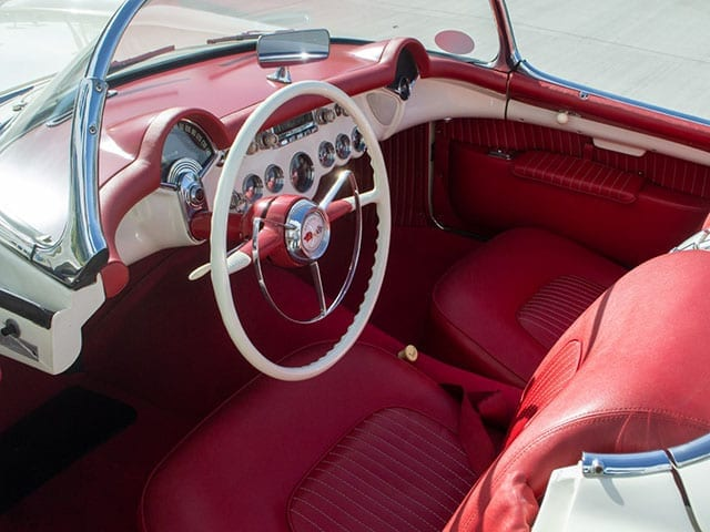 1955 white corvette v8 interior