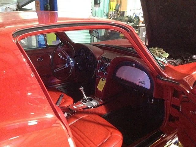 1967 red corvette 400hp ac interior 1