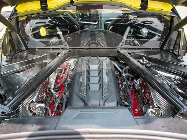 2020 c8 accelerate yellow corvette coupe engine 1