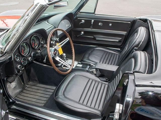 1967 black corvette l71 convertible interior 1