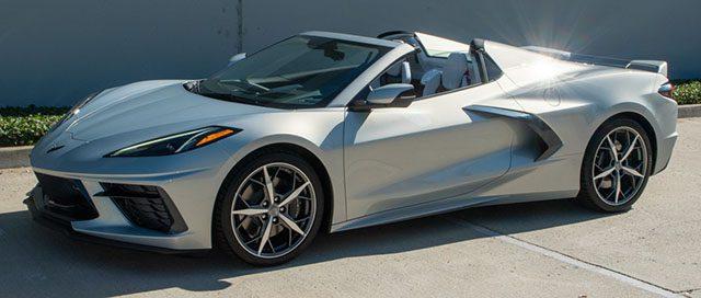 2021 silver flare c8 corvette convertible top down 1